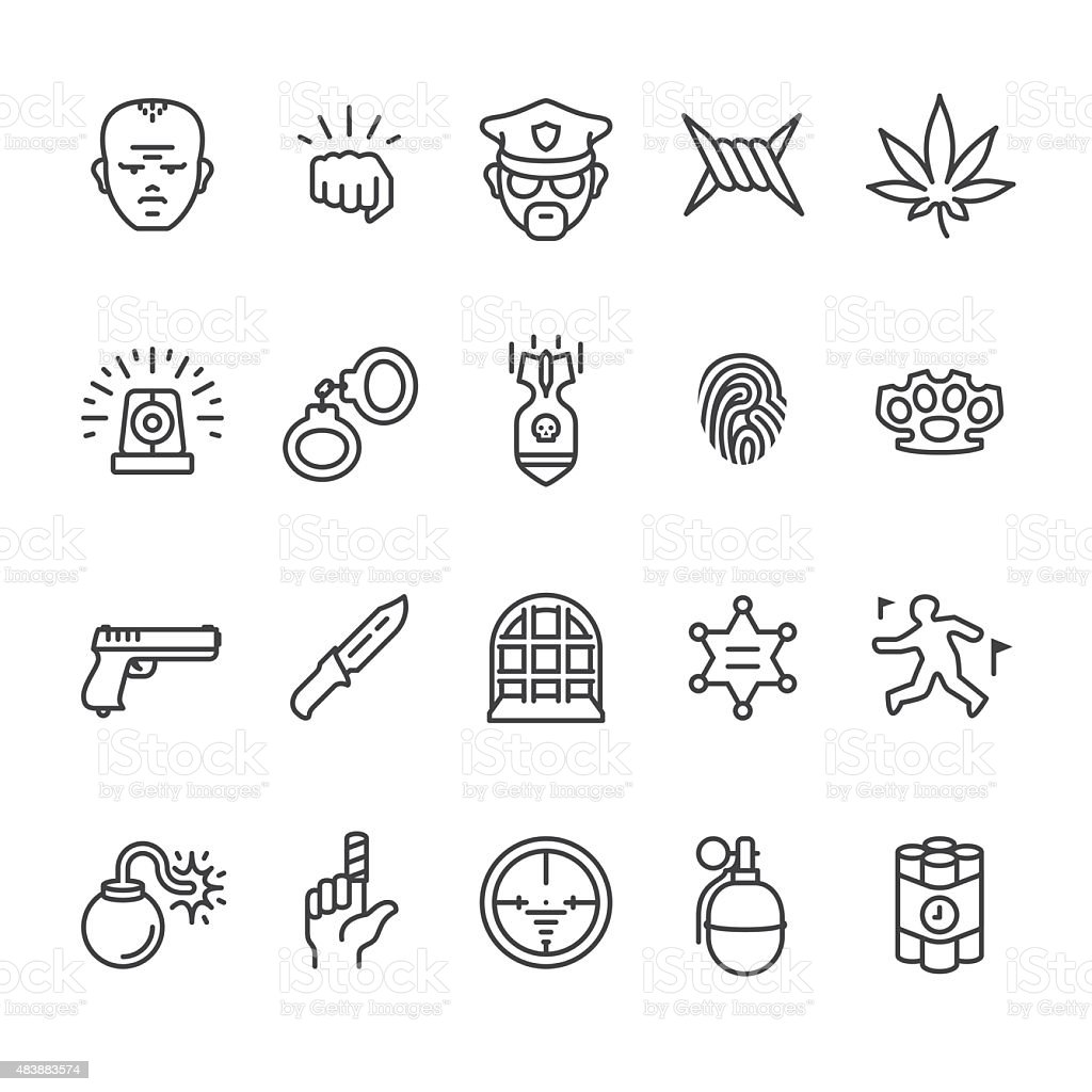 Crime related vector icons vector art illustration