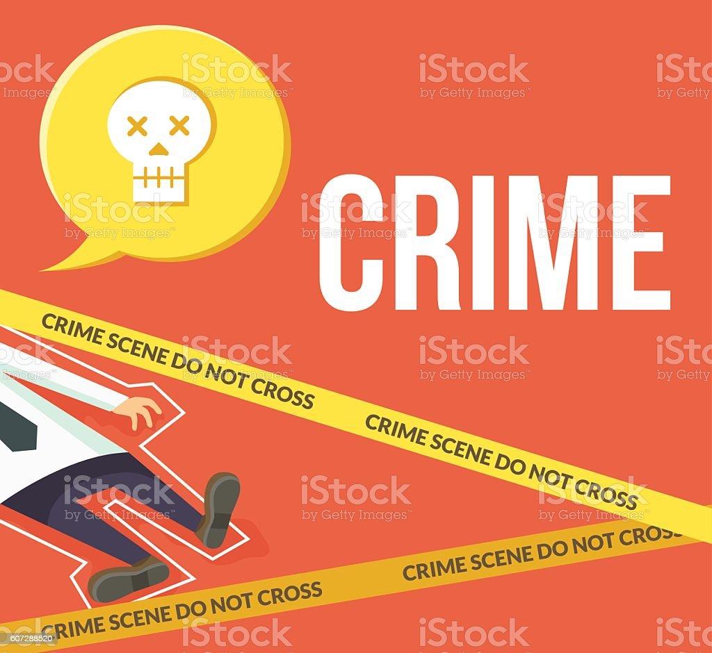 Crime scene. Do not cross. Vector flat cartoon illustration vector art illustration