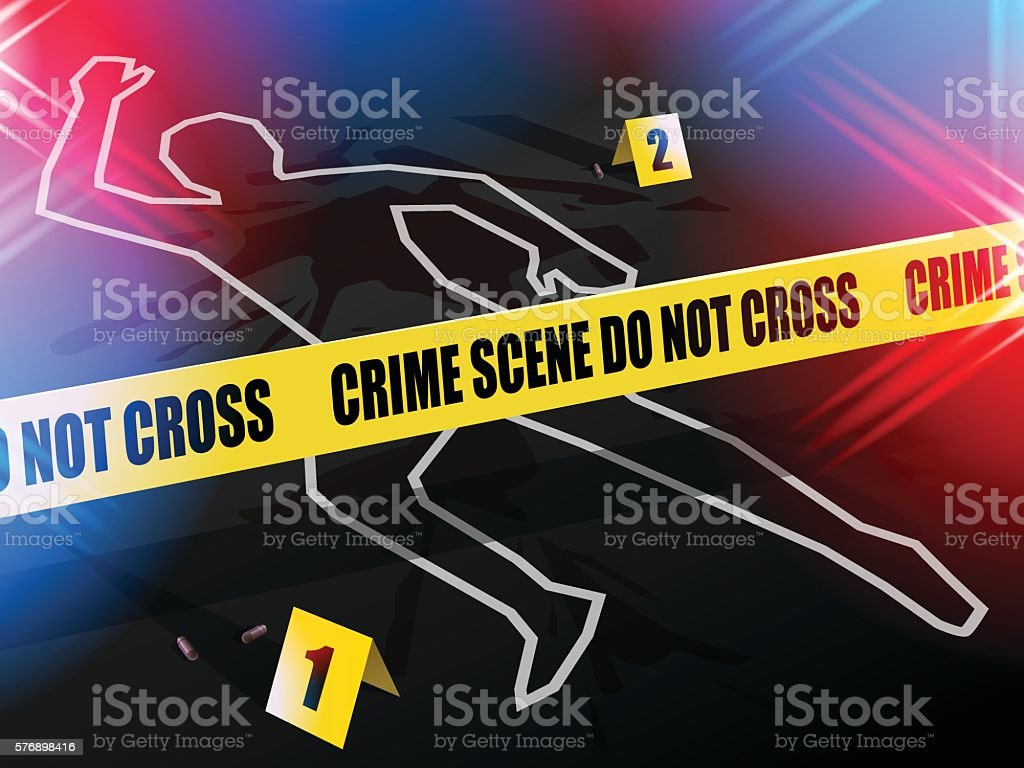 Crime scene Do not cross, with Chalk outline of victim. vector art illustration