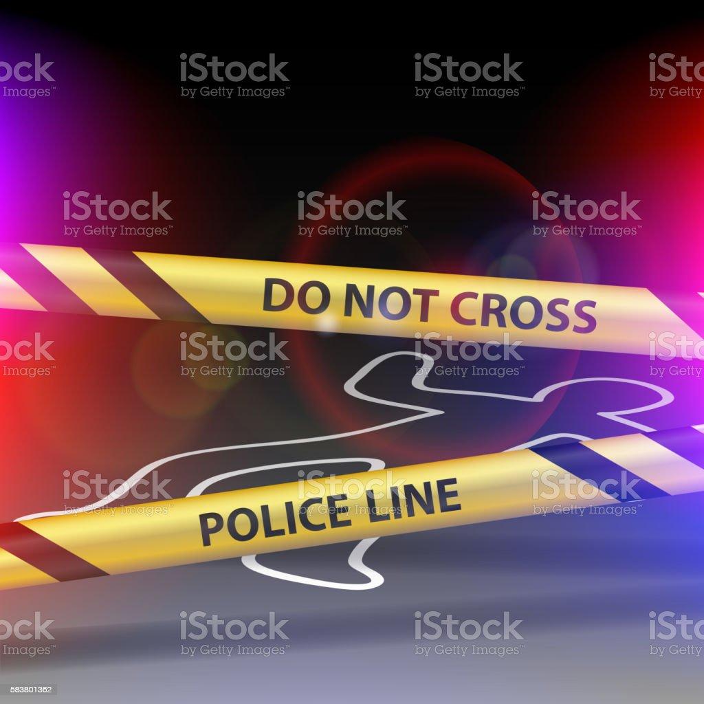 Crime scene. Do not cross. Yellow warning tape. vector art illustration