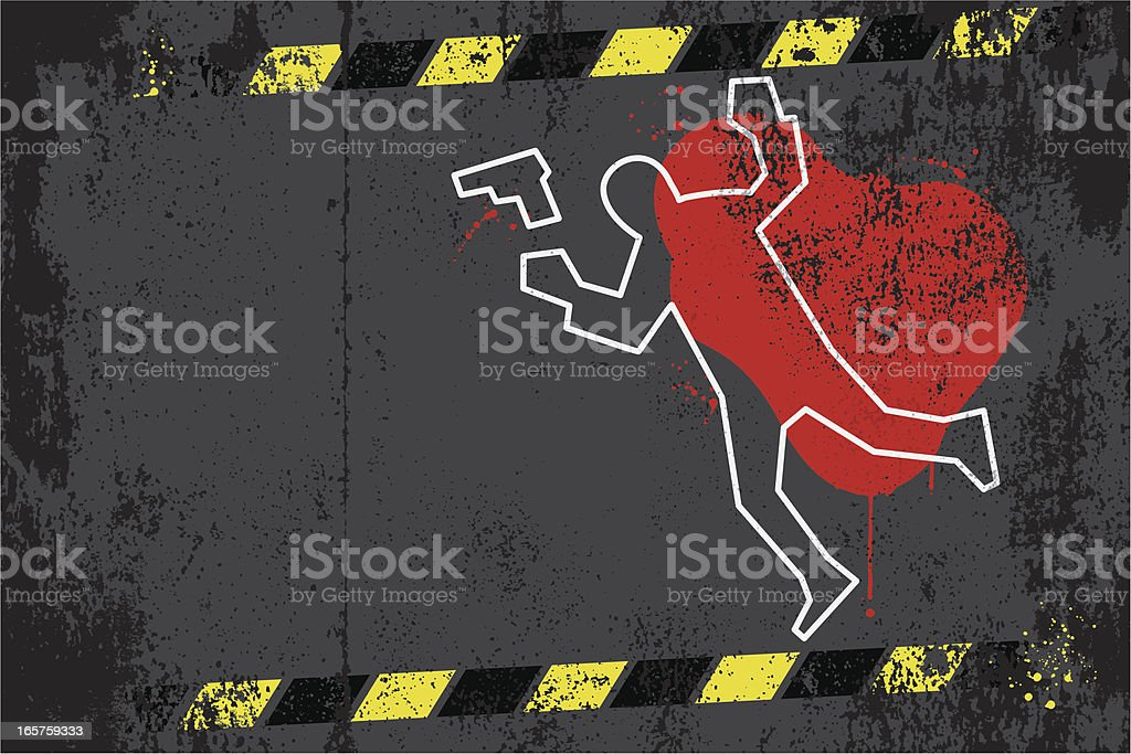 Crime scene graffiti vector art illustration