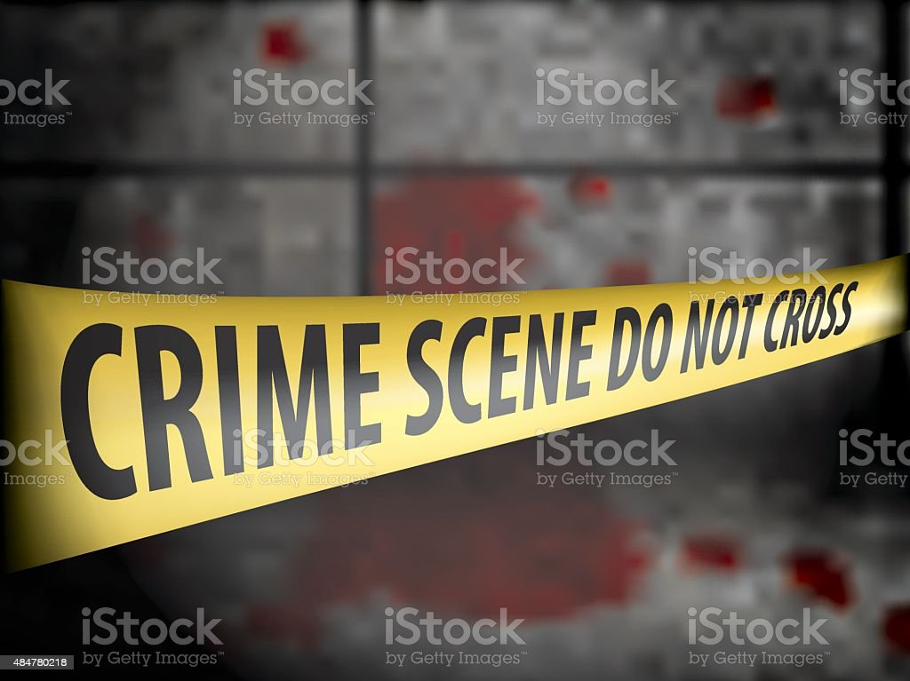 Crime scene Police line tape against blood on the wall. vector art illustration