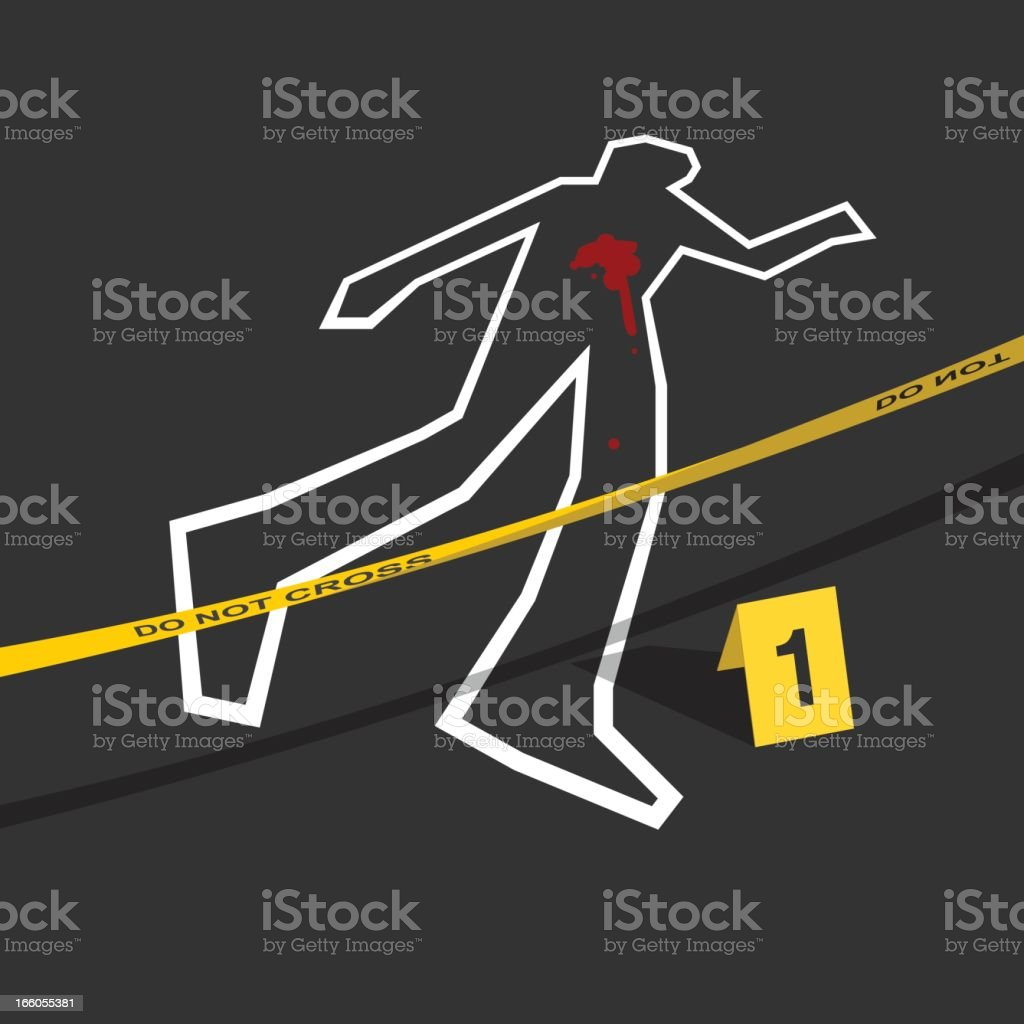Crime scene with do not cross tape and number 1 mark vector art illustration
