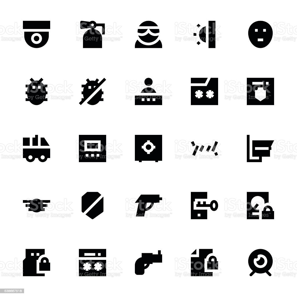 Crime, Security and Defence Vector Icons 2 vector art illustration