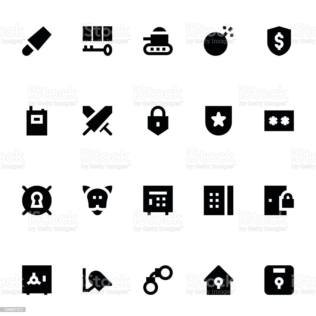 Crime, Security and Defence Vector Icons 3 vector art illustration