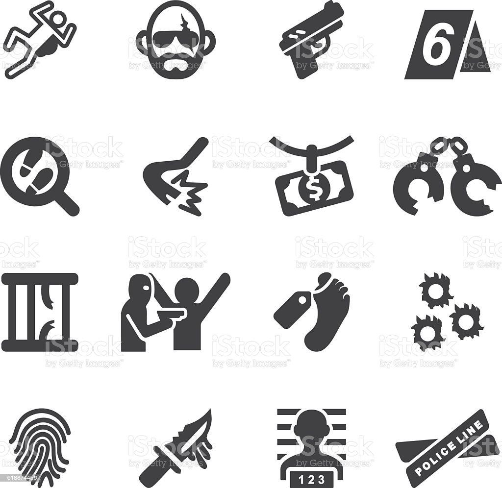 Crime Silhouette Icons | EPS10 vector art illustration