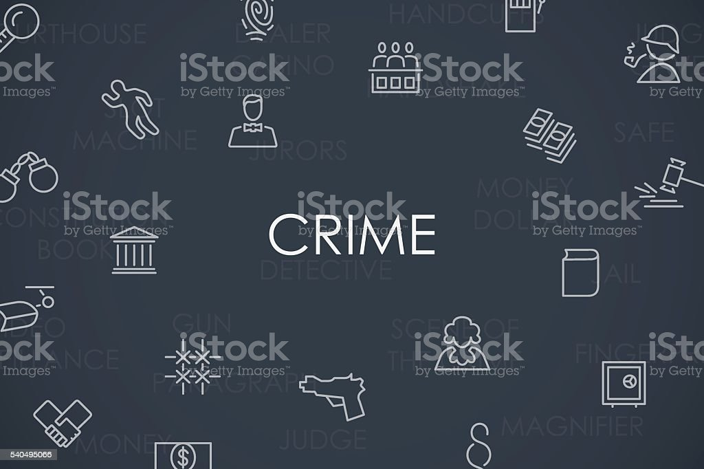 Crime Thin Line Icons vector art illustration
