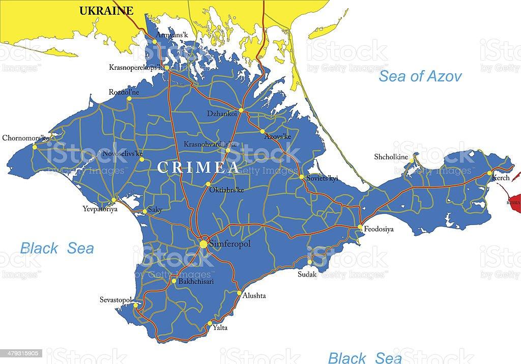 Crimea map vector art illustration
