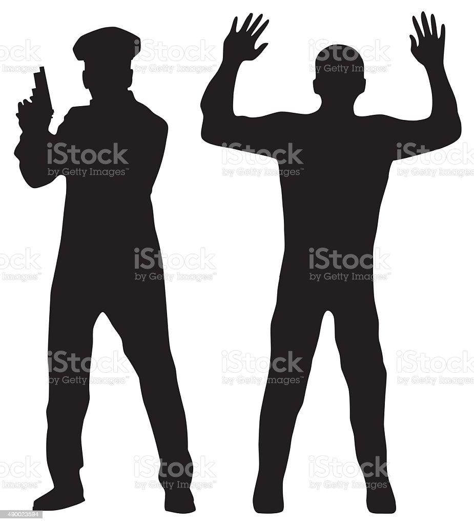 Criminal and Police officer. vector art illustration