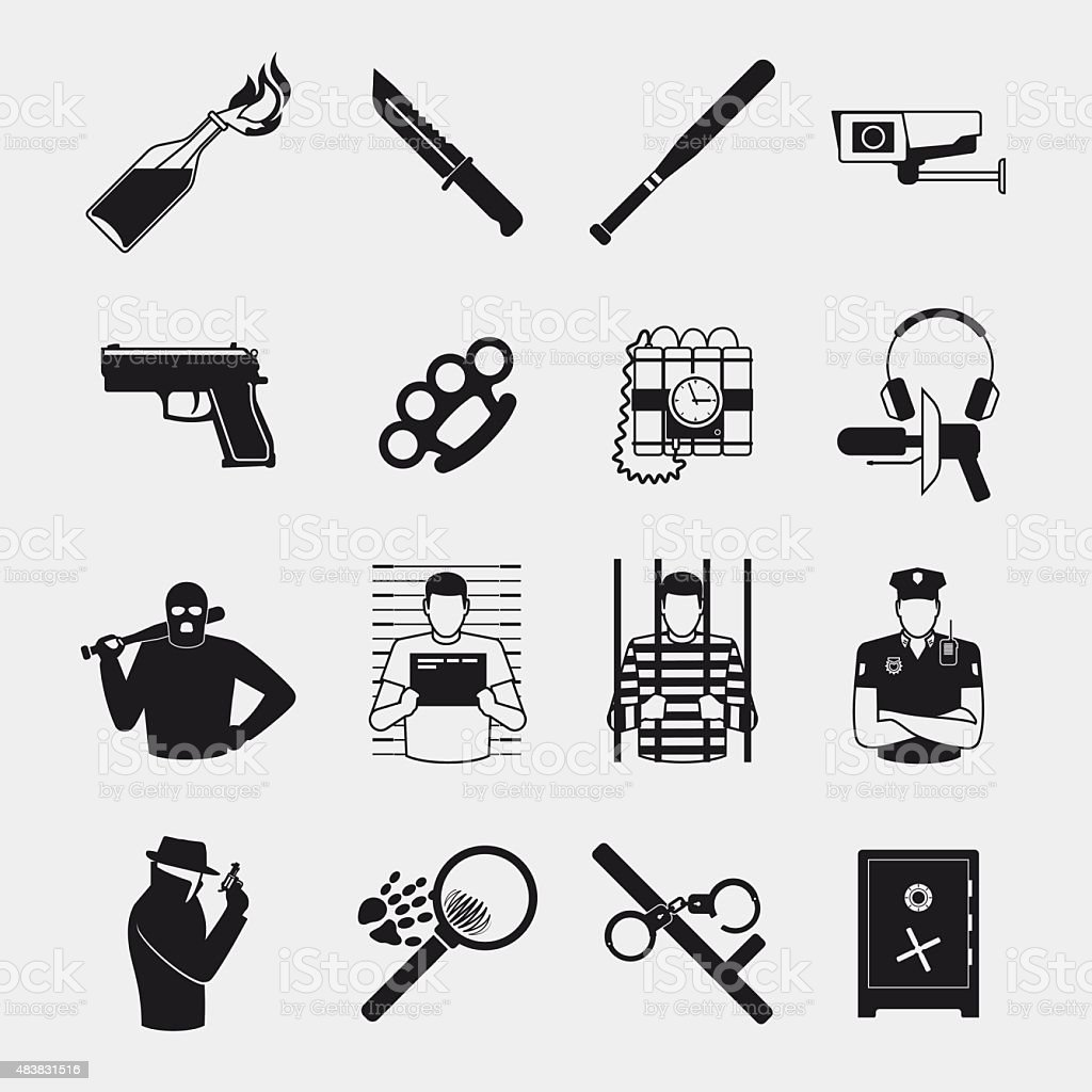 Criminal and prison icons vector art illustration