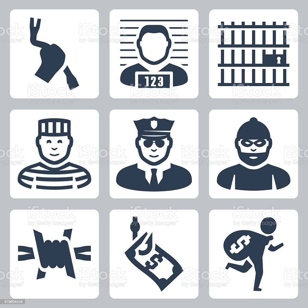 Criminal and prison vector icons set vector art illustration