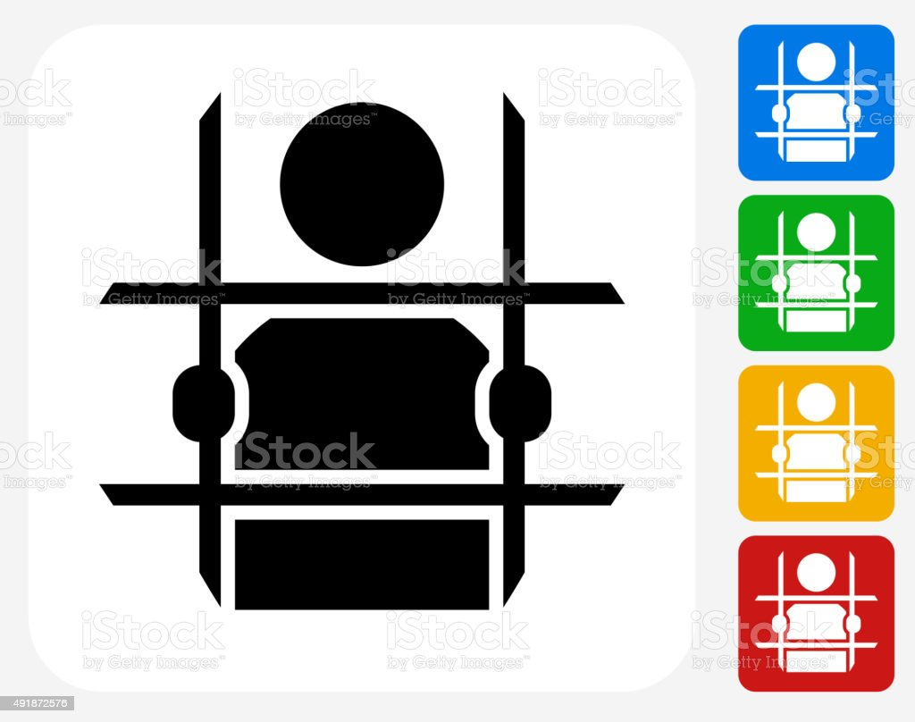 Criminal Behind Bars Icon Flat Graphic Design vector art illustration