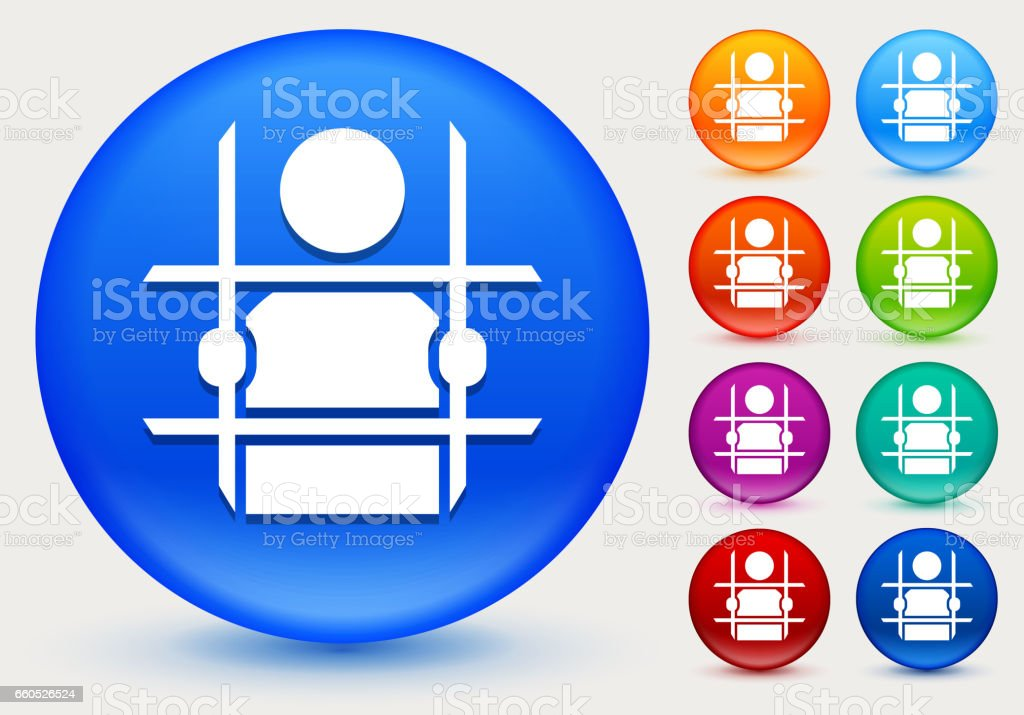 Criminal Behind Bars Icon on Shiny Color Circle Buttons vector art illustration