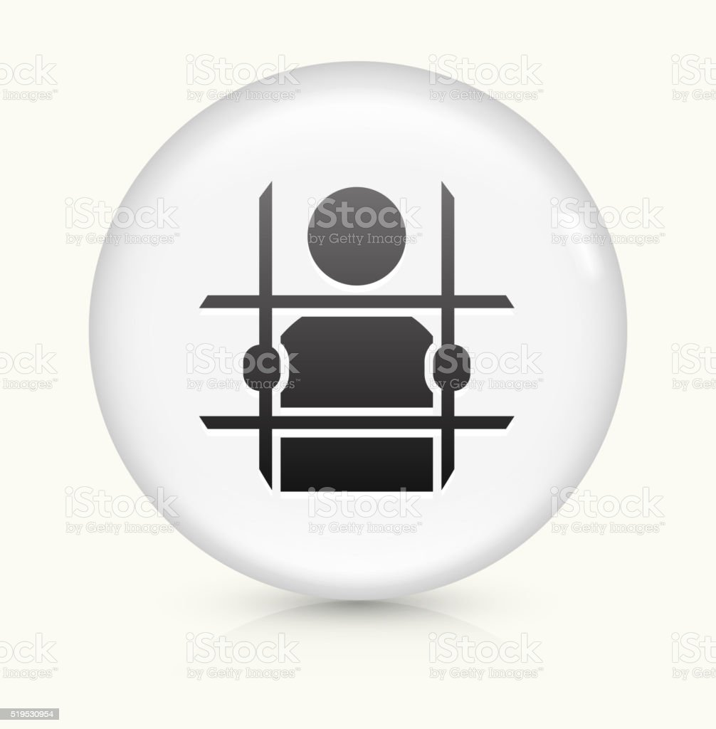 Criminal Behind Bars icon on white round vector button vector art illustration