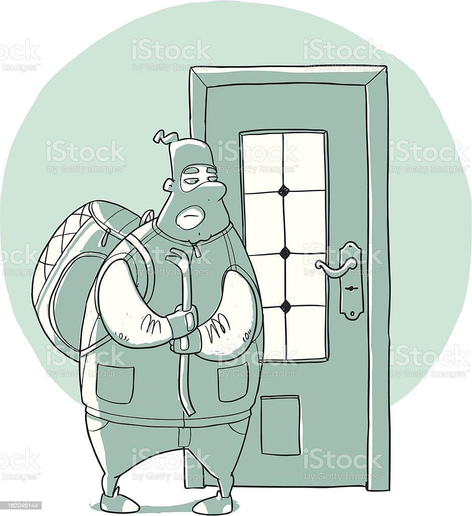 Criminal breaks the door royalty-free stock vector art