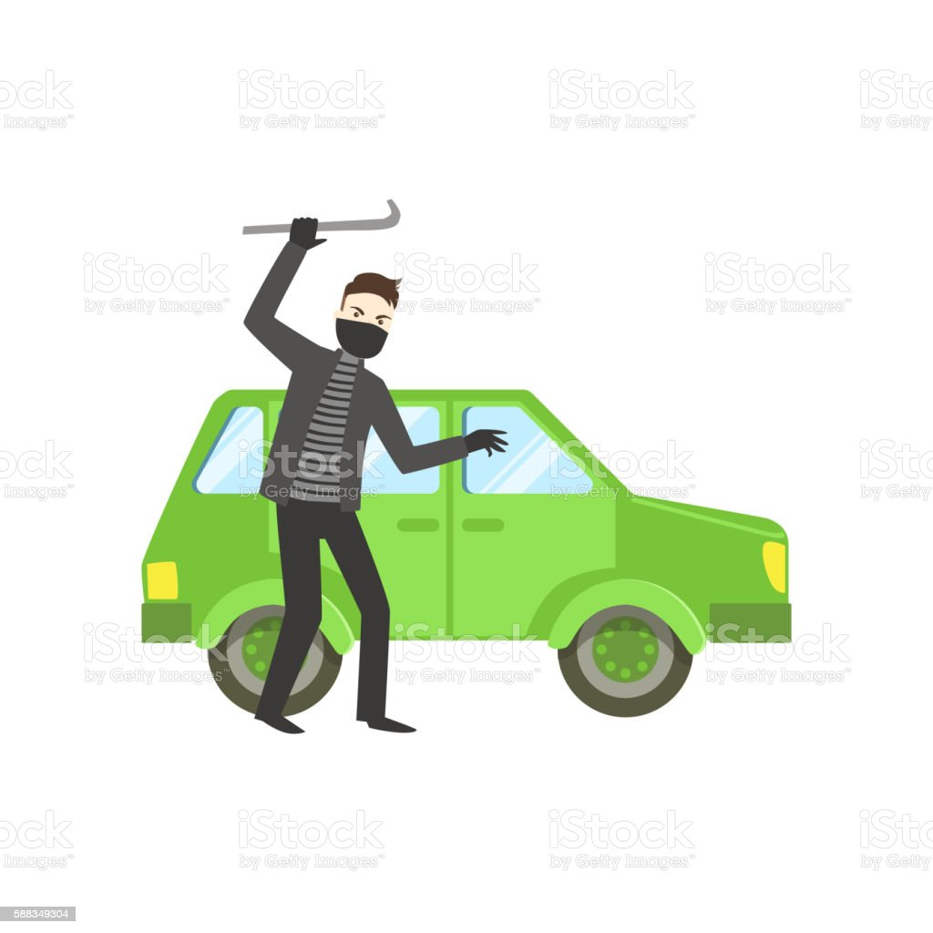 Criminal In Black Robbing The Car vector art illustration