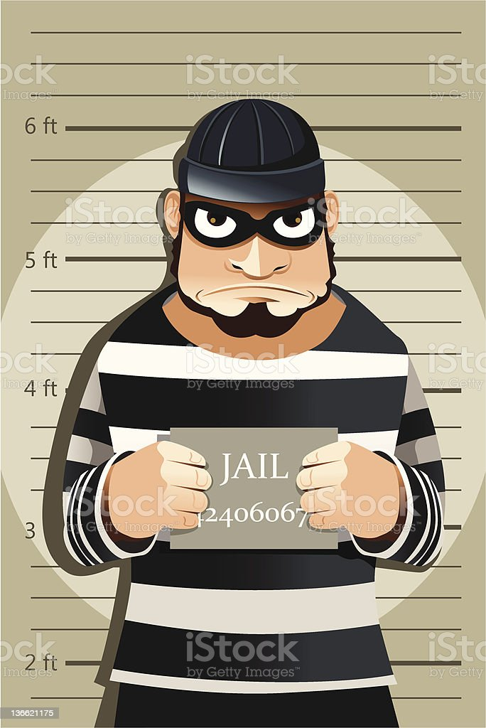 Criminal mug shot royalty-free stock vector art