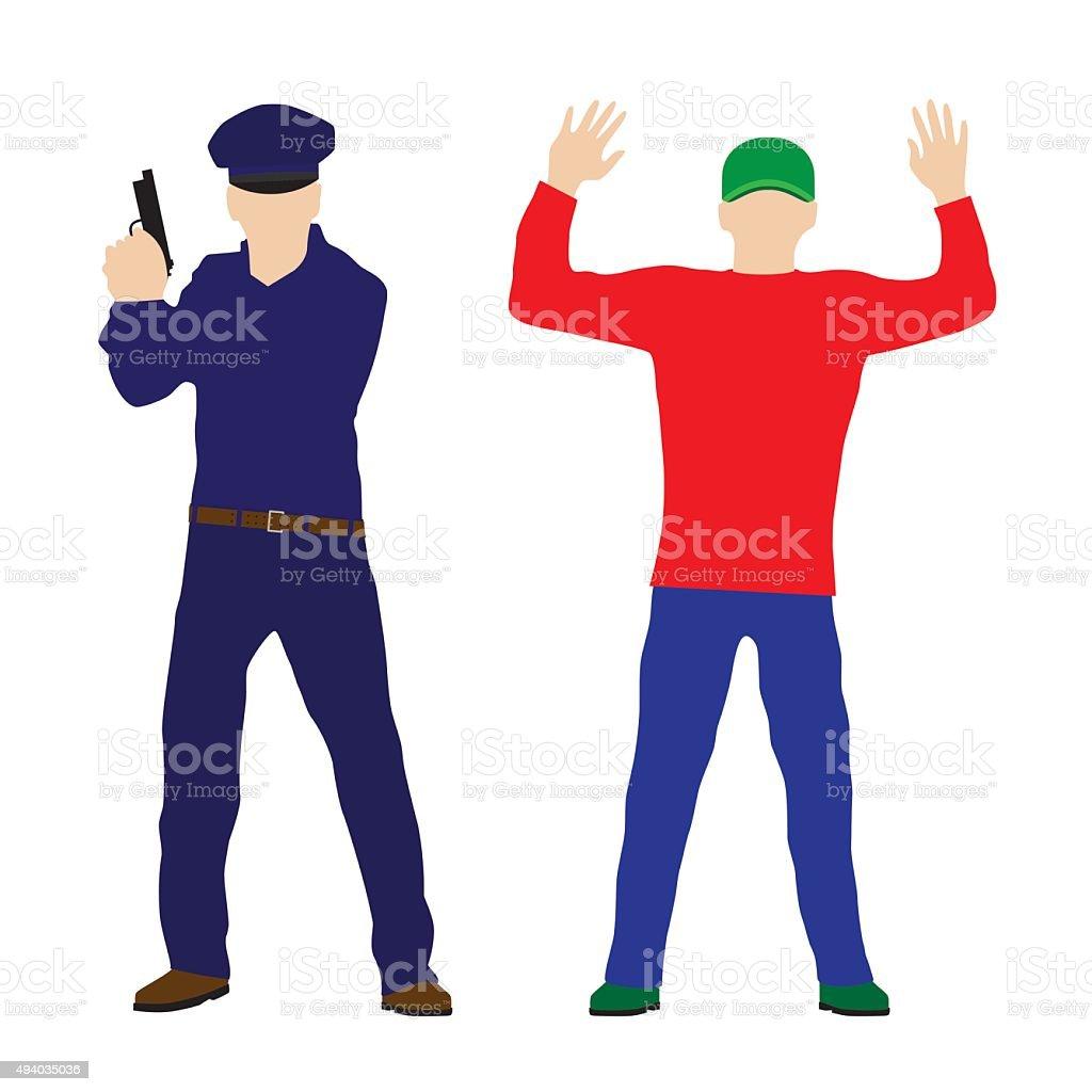 Criminal, offender and Police officer. vector art illustration