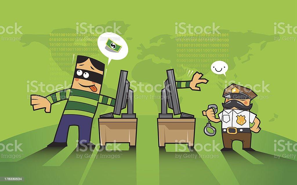 criminal on internet royalty-free stock vector art