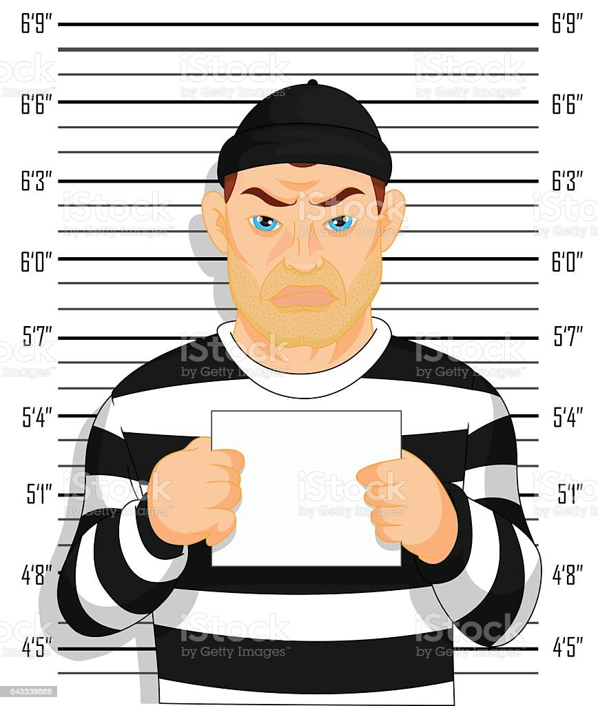 Criminal photo Caught criminal stands beside wall with number in hand vector art illustration