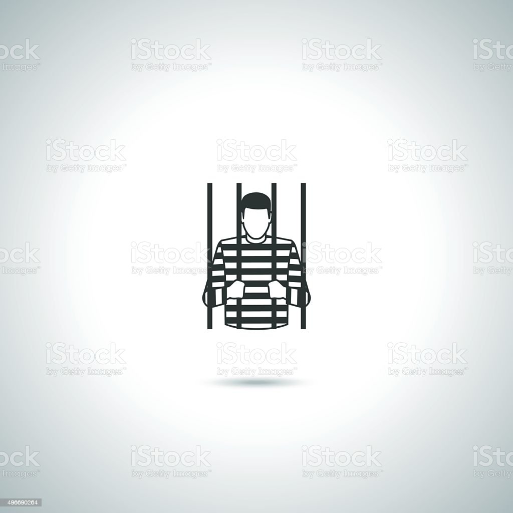 Criminal prisoner icon vector art illustration