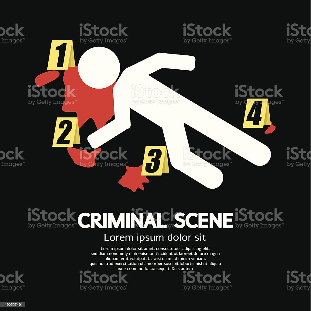 Criminal Scene vector art illustration