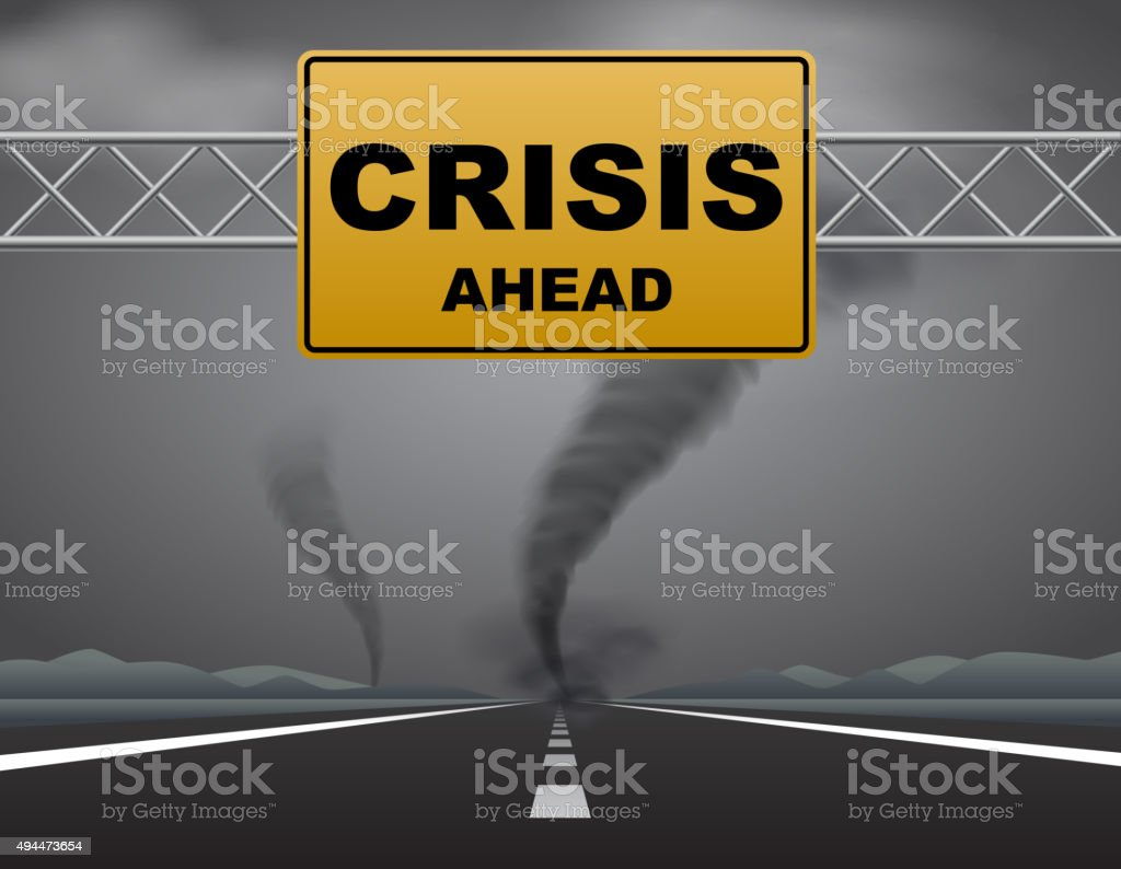 Crisis ahead vector art illustration