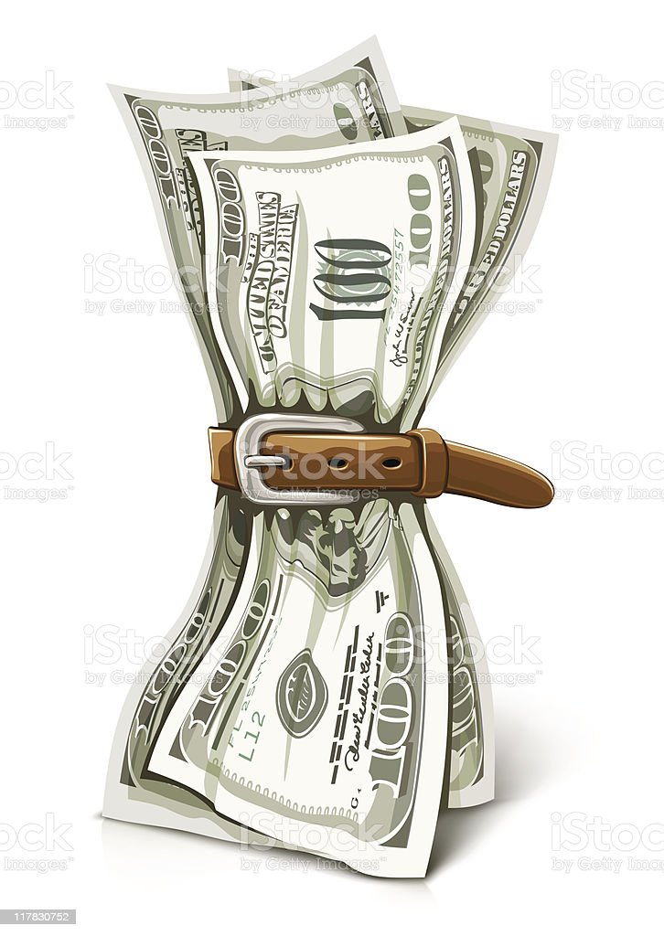 crisis business concept with crushed dollars money vector art illustration