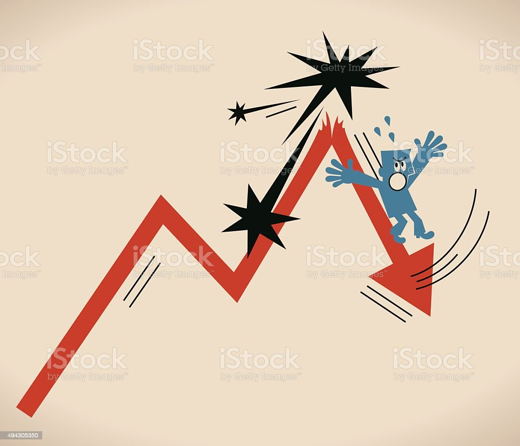 Crisis concept, Businessman falling from a broken arrow (going down) vector art illustration