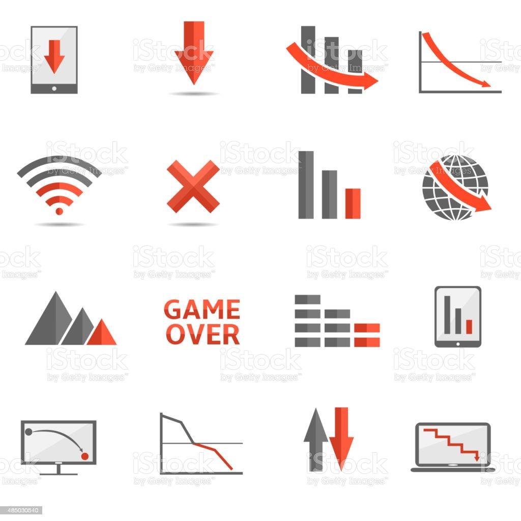 Crisis icons vector art illustration