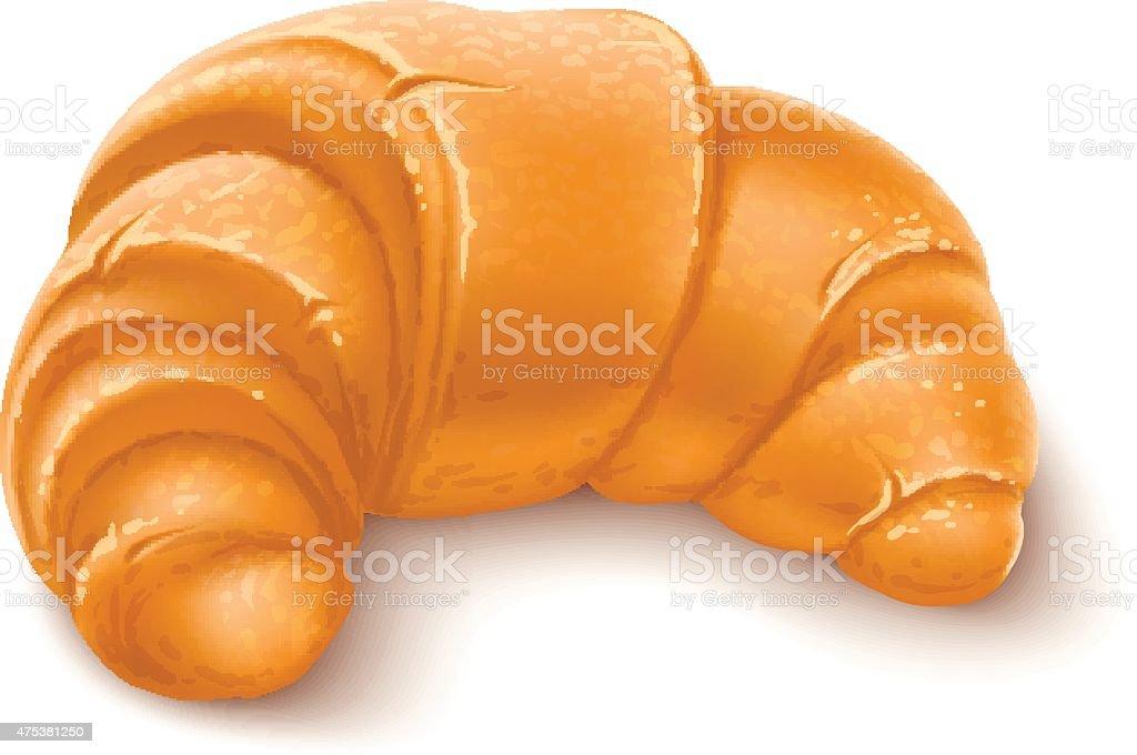 Crispy croissant for breakfast vector art illustration