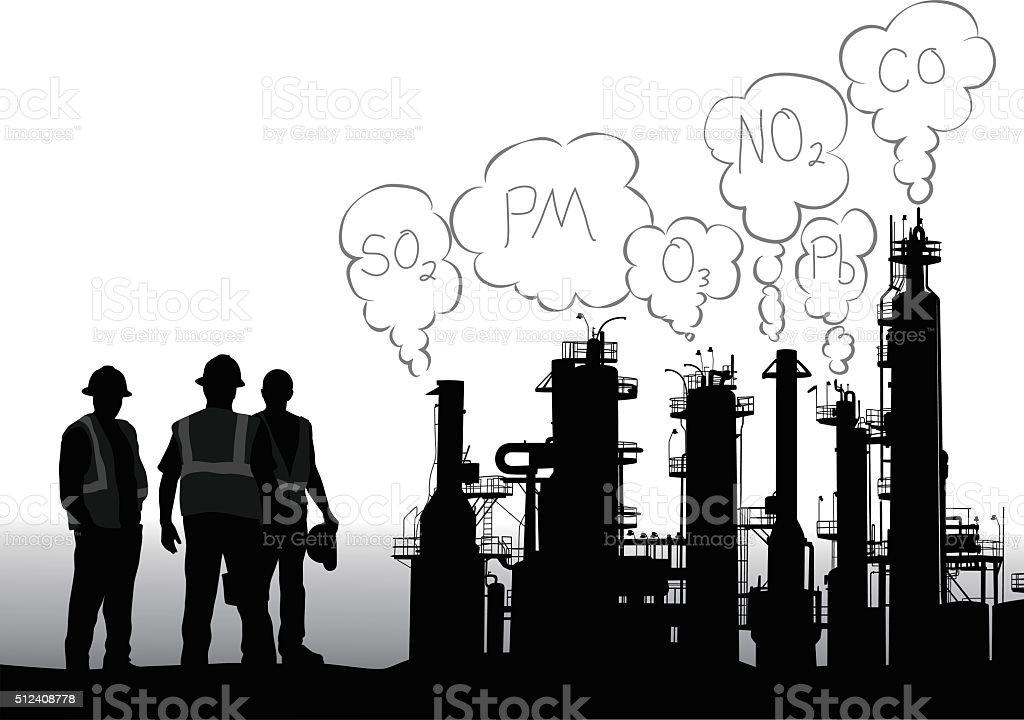 Criteria Pollutants Infographic vector art illustration