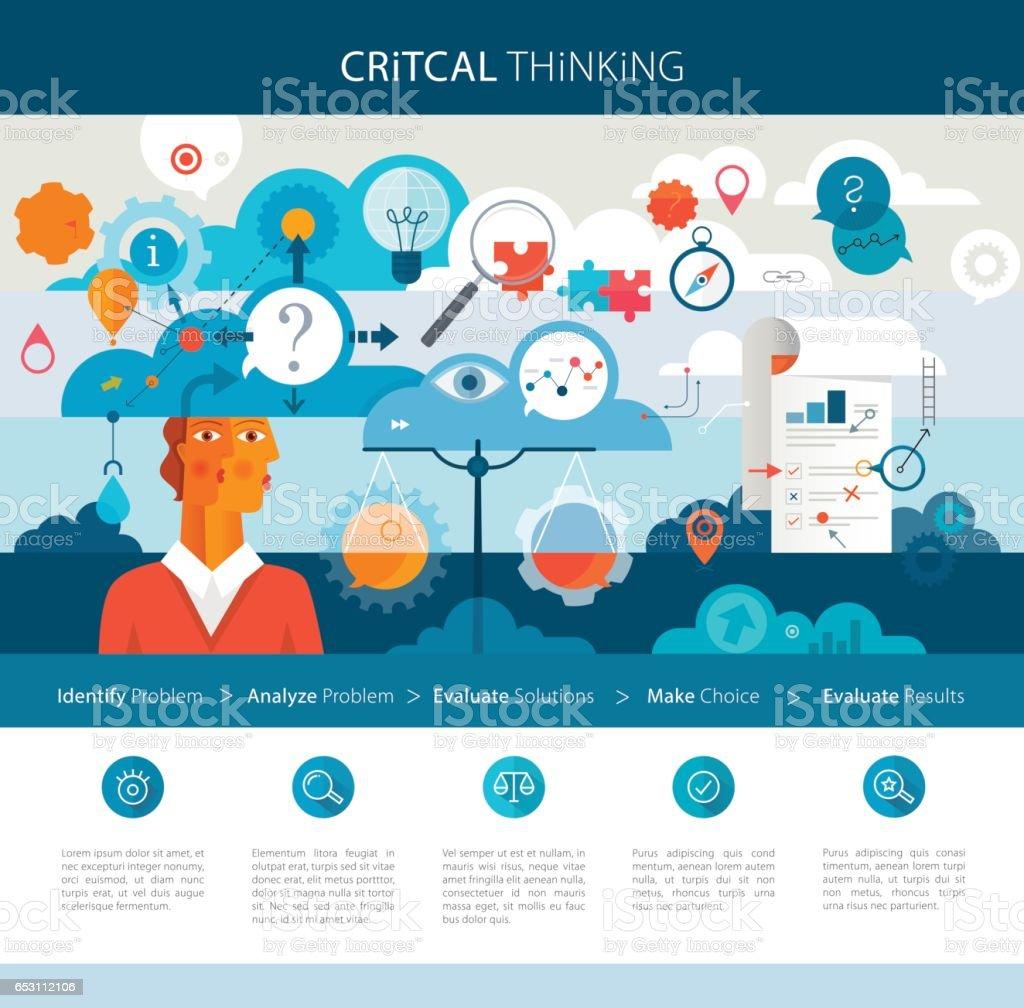 Critical Thinking Infographics vector art illustration