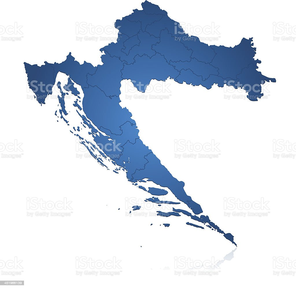Croatia map blue royalty-free stock vector art