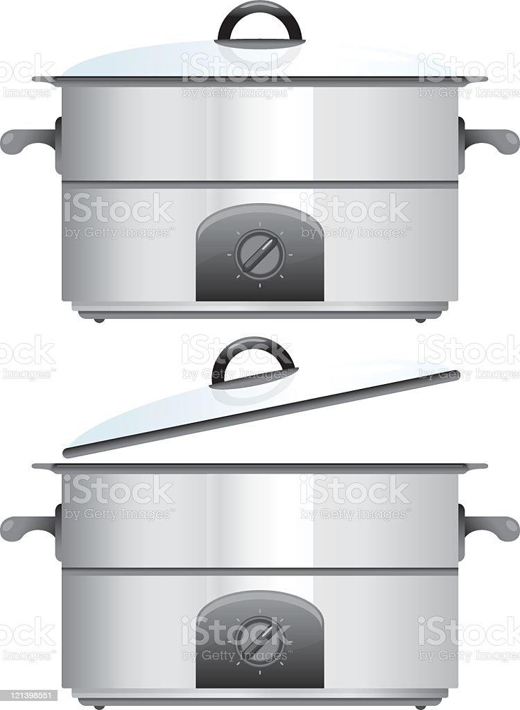 Crock Pot cooking utensil vector art illustration