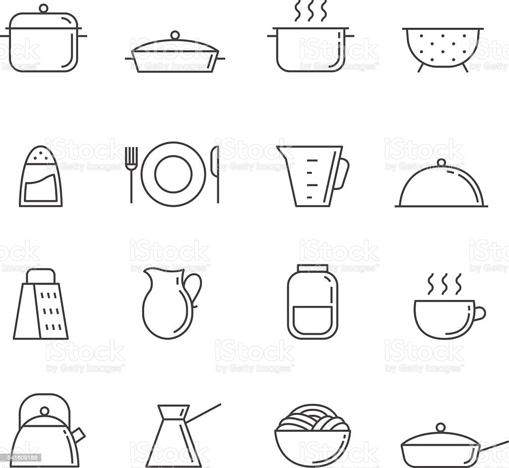 Crockery and cooking icon set. Clean and simple outline design. vector art illustration