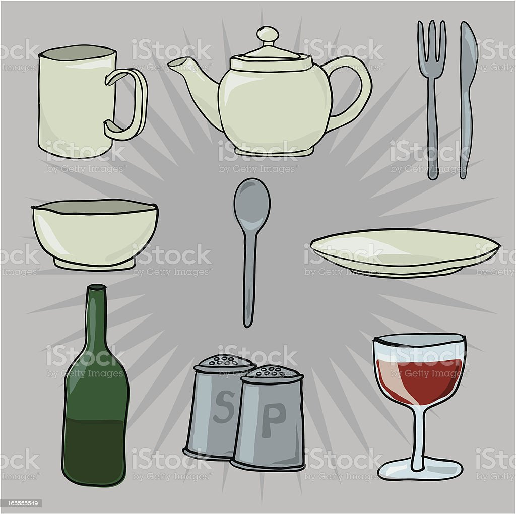 Crockery vector art illustration