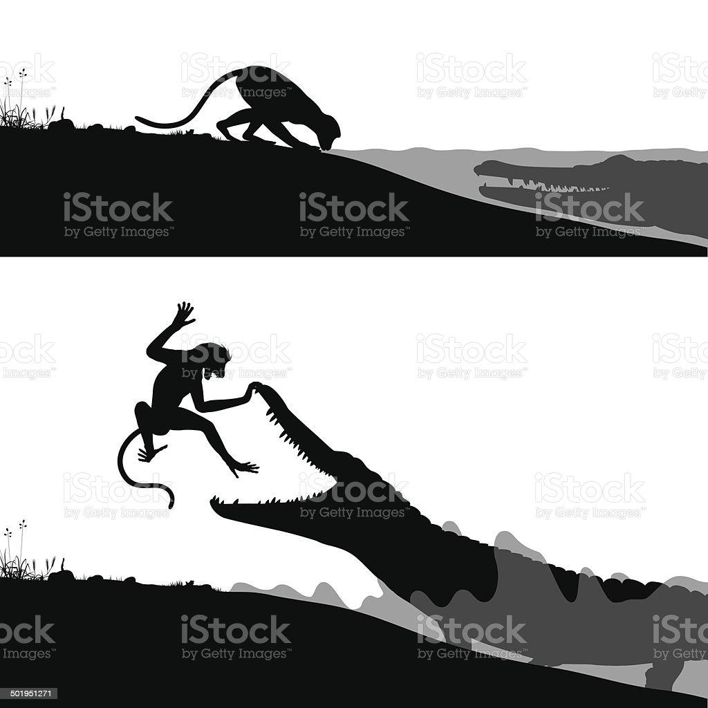 Crocodile and monkey vector art illustration