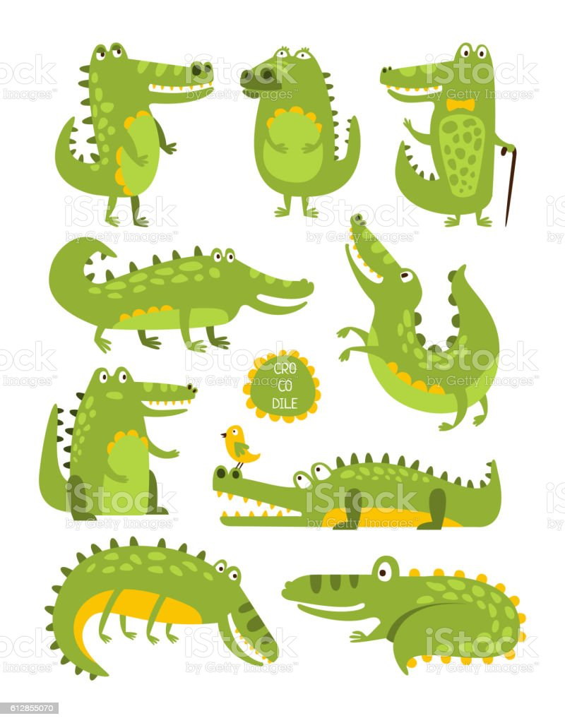 Crocodile Cute Character In Different Poses Childish Stickers vector art illustration