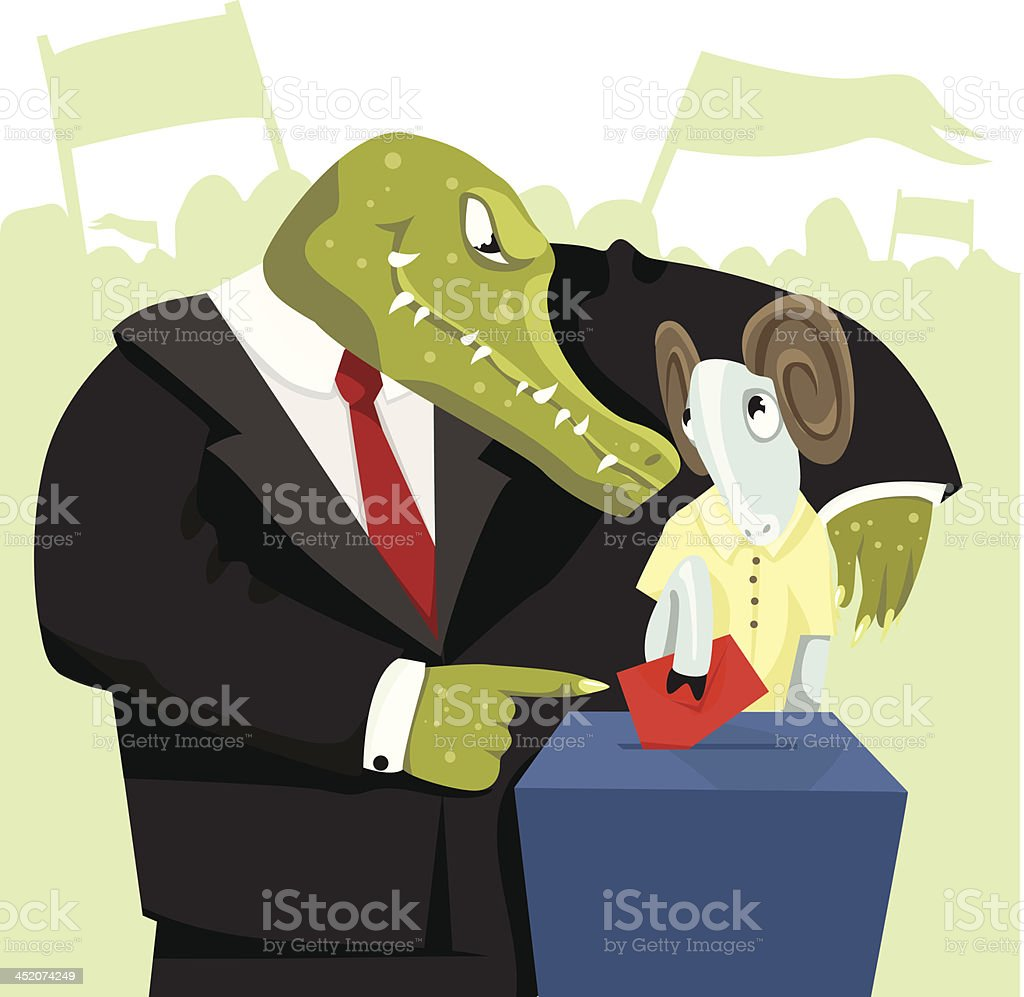 Crocodile forces the sheep to vote. royalty-free stock vector art