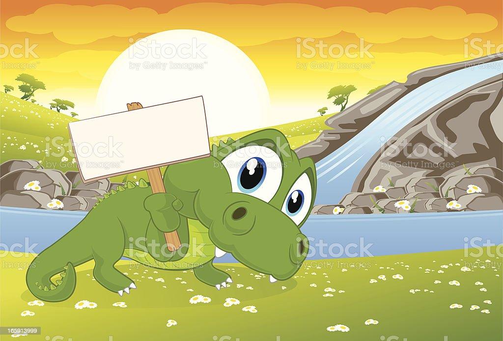 Crocodile holding a blank sign royalty-free stock vector art