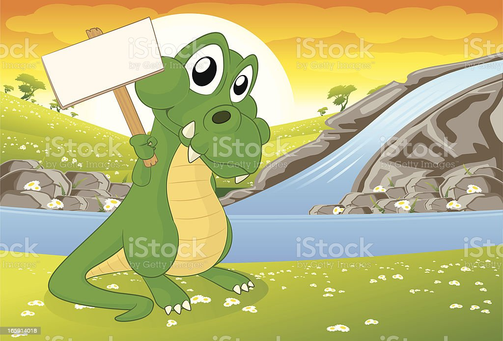 Crocodile holding a blank sign royalty-free stock vector art