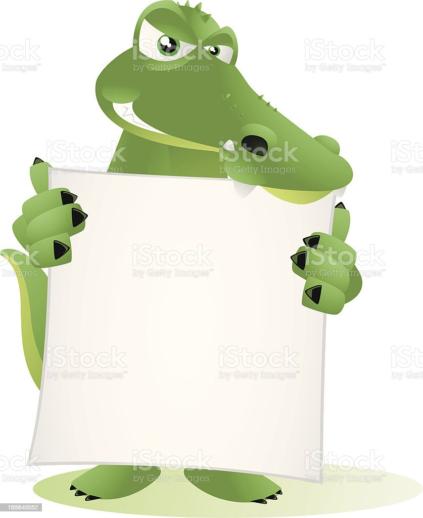 Crocodile holding a large blank banner royalty-free stock vector art