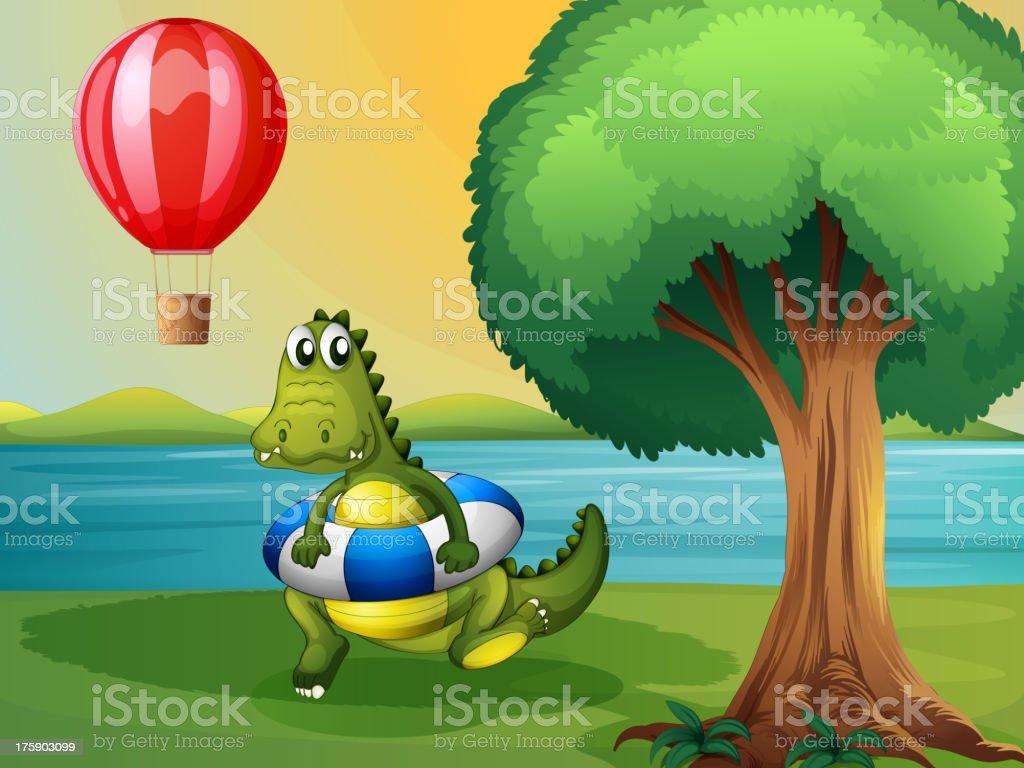 crocodile inside the buoy along river royalty-free stock vector art