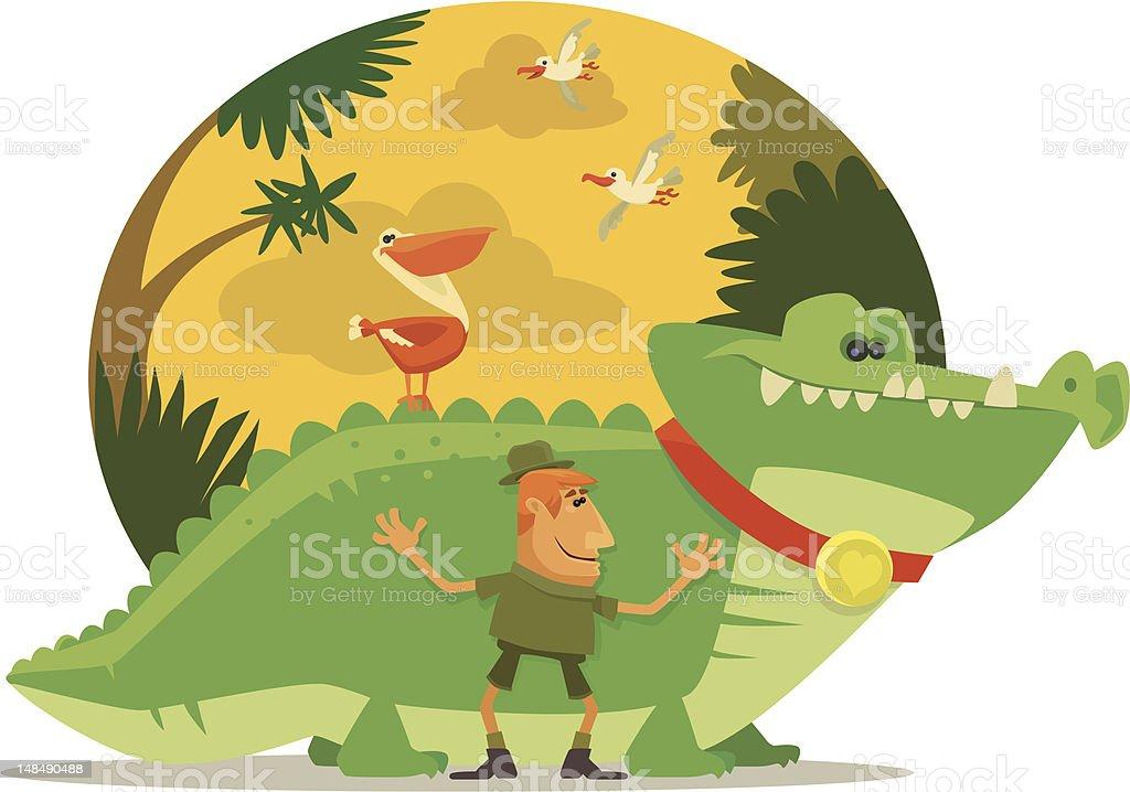 crocodile lover vector art illustration