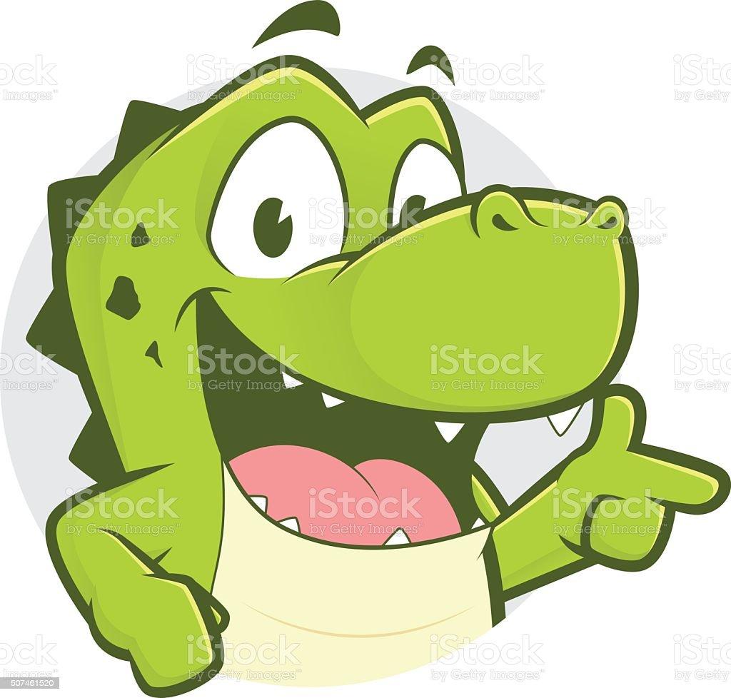 Crocodile or alligator with gun finger gesture and circle shape vector art illustration