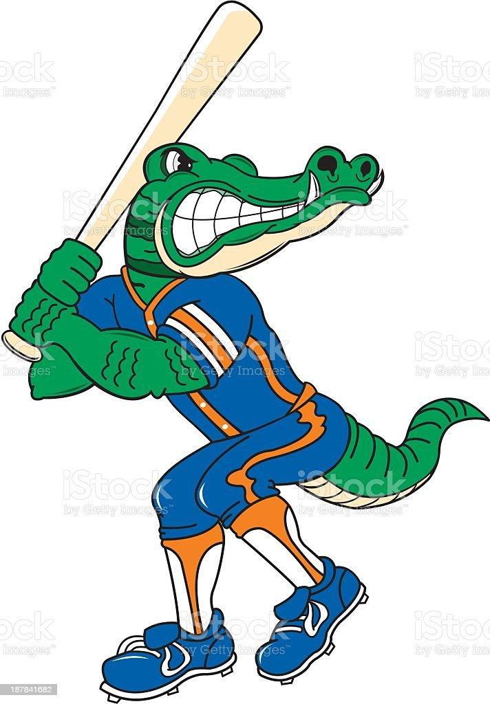 Crocodile Plays Baseball. royalty-free stock vector art