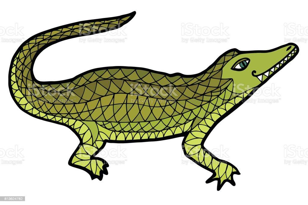 Crocodile vector. Alligator zen tangle. vector art illustration