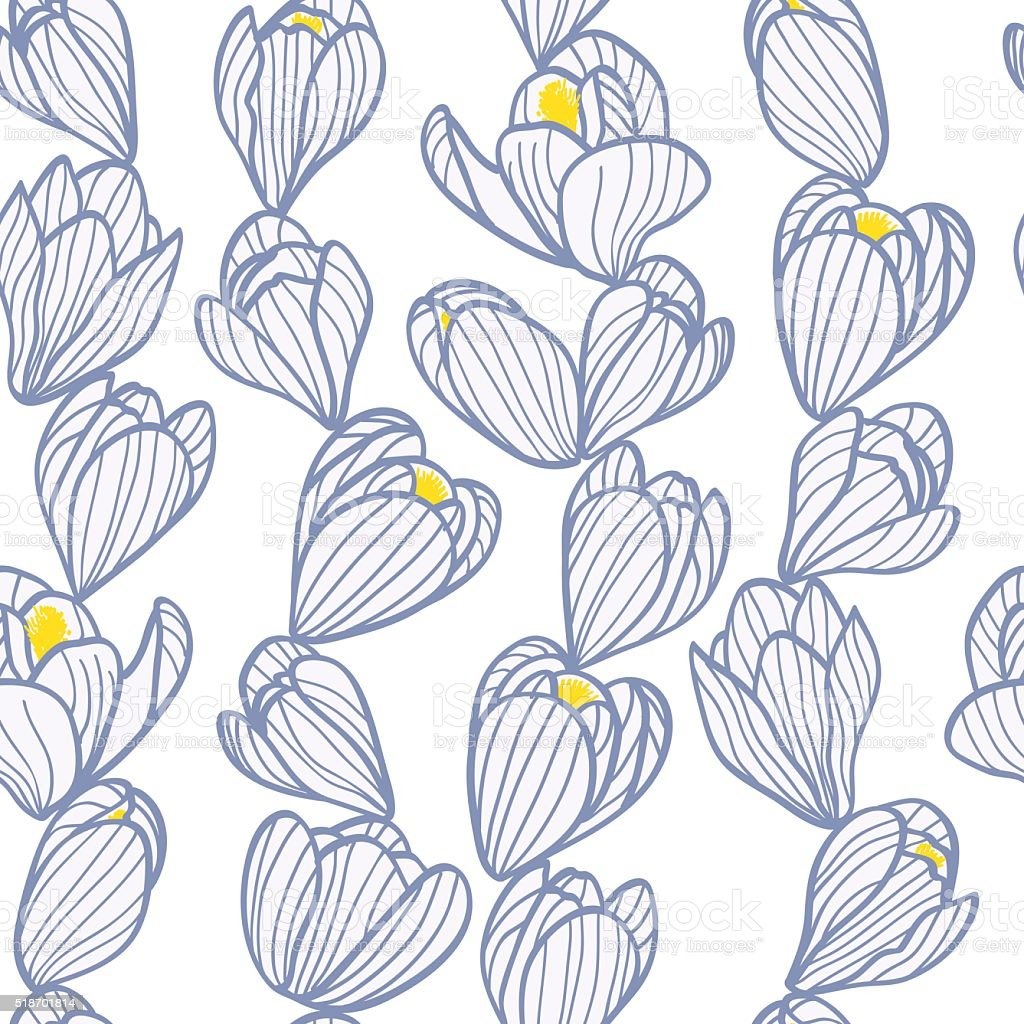 Crocus pattern vector art illustration