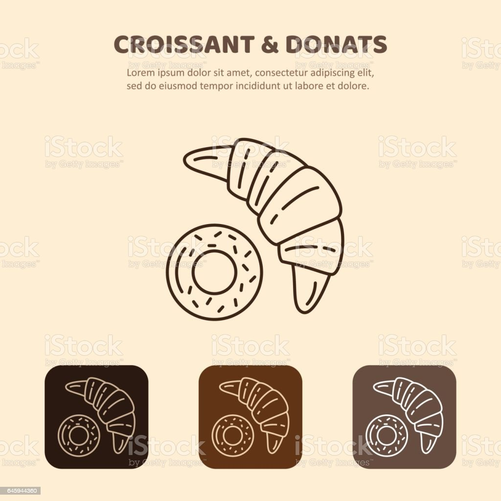 Croissant and donut line icon. Morning breakfast image vector art illustration
